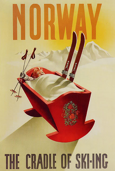 Norway The Cradle Of Skiing 1955 | Vintage Travel Posters 1891-1970