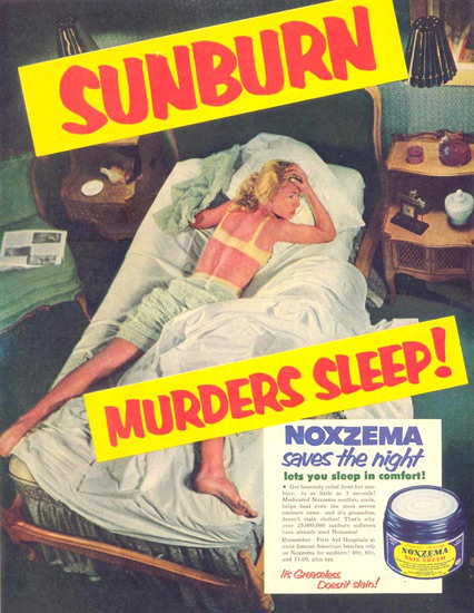 Noxzema Sunburn Murders Sleep Girl 1953 | Sex Appeal Vintage Ads and Covers 1891-1970