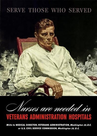 Nurses Are Needed In Veterans Admin Hospitals | Vintage War Propaganda Posters 1891-1970