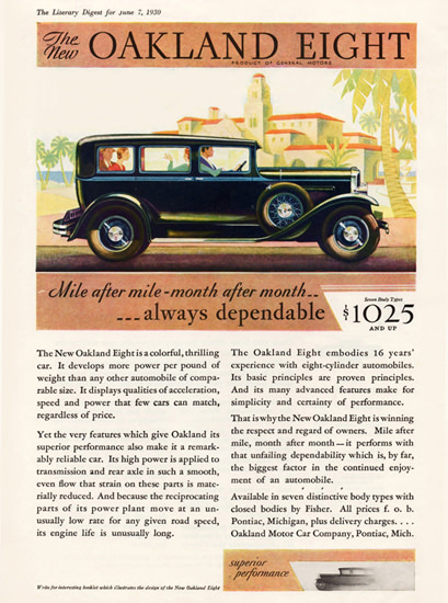 Oakland Eight Sedan 1930 Dependable | Vintage Cars 1891-1970