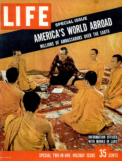 Officer with Monks in Laos 23 Dec 1957 Copyright Life Magazine | Life Magazine Color Photo Covers 1937-1970