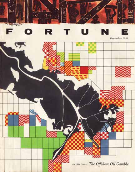 Offshore Oil Gamble Fortune Magazine December 1956 Copyright | Fortune Magazine Graphic Art Covers 1930-1959