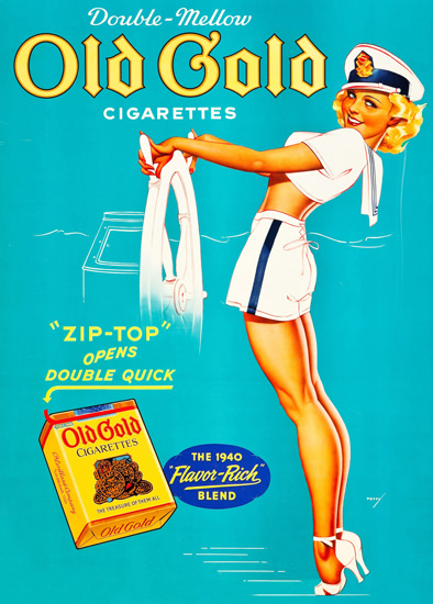 Old Gold Cigarettes George Petty Pin-Up Girl | Sex Appeal Vintage Ads and Covers 1891-1970