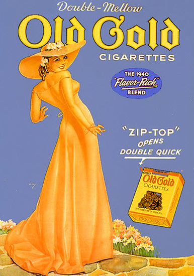 Old Gold Cigarettes Lady 1940 George Petty | Sex Appeal Vintage Ads and Covers 1891-1970