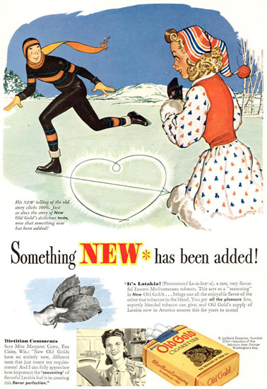Old Gold Cigarettes Skater Heart 1942 | Sex Appeal Vintage Ads and Covers 1891-1970