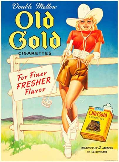 Old Gold Cow Girl Pin-Up Girl George Petty Sex Appeal   Sex Appeal Vintage Ads and Covers 1891-1970
