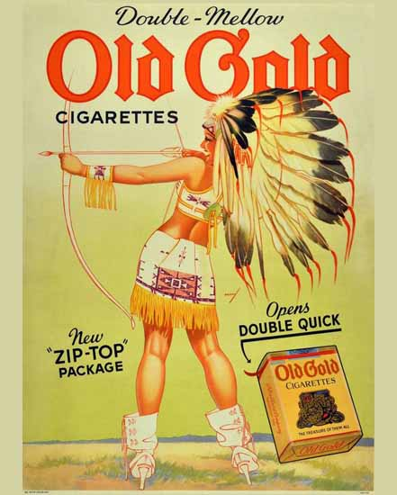 Old Gold Indian Chief Girl 1939 Pin-Up Girl George Petty Sex Appeal   Sex Appeal Vintage Ads and Covers 1891-1970
