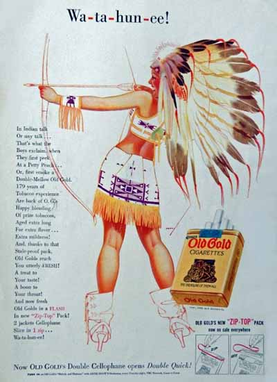 Old Gold Indian Chief Girl Wa-ta-hun-ee 1939 George Petty Sex Appeal | Sex Appeal Vintage Ads and Covers 1891-1970