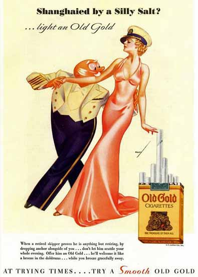 Old Gold Shanghaied by a Silly Salt 1935 George Petty | Sex Appeal Vintage Ads and Covers 1891-1970