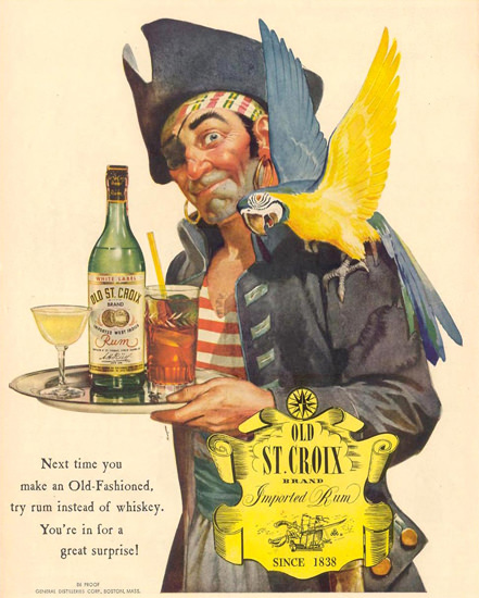 Old St Croix Rum Pirate And Parrot 1944   Vintage Ad and Cover Art 1891-1970