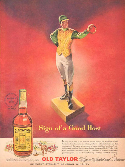 Old Taylor Whiskey Jockey 1951 | Vintage Ad and Cover Art 1891-1970