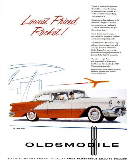 Oldsmobile 88 2 Door Sedan 1956 Red White | Vintage Cars 1891-1970