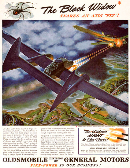 Oldsmobile GM The Black Widow Snares 1944 | Vintage War Propaganda Posters 1891-1970