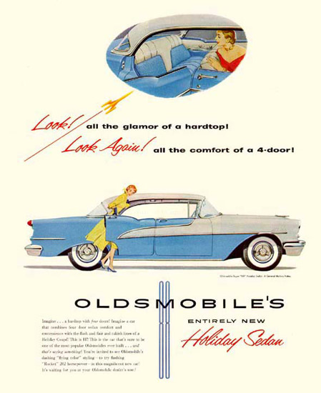 Oldsmobile Holiday Sedan 1955 Blue White | Vintage Cars 1891-1970
