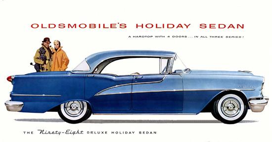 Oldsmobile Ninety-Eight Deluxe Holiday Sedan 1955 | Vintage Cars 1891-1970