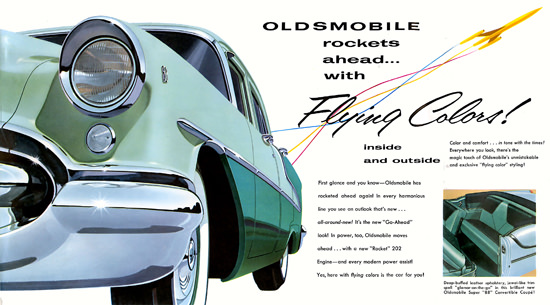 Oldsmobile Rockets Ahead Flying Colors 1955 | Vintage Cars 1891-1970