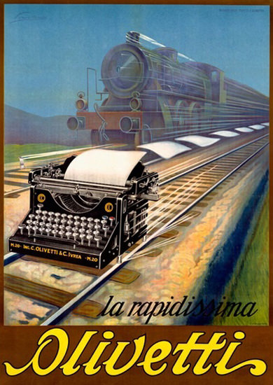 Olivetti La Rapidissima Typewriter Fast Like Train | Vintage Ad and Cover Art 1891-1970