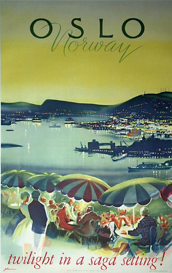 Olso Norway Twilight In A Saga Setting 1965 | Vintage Travel Posters 1891-1970