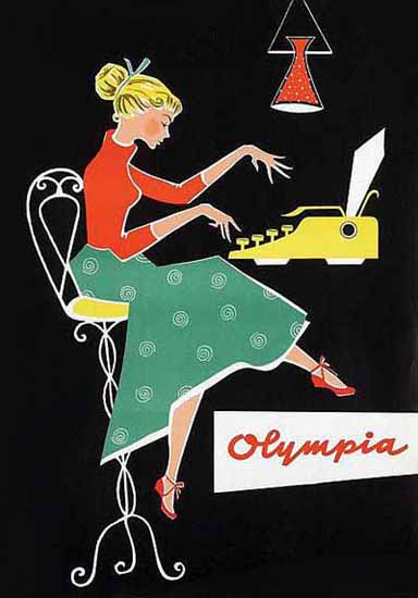 Olympia Typewriter Ad 1950s Sex Appeal | Sex Appeal Vintage Ads and Covers 1891-1970