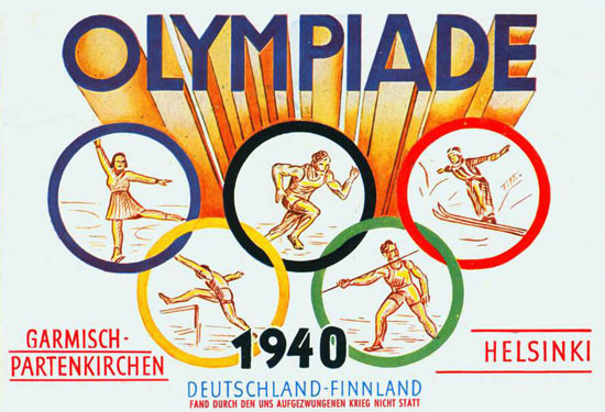 Olympic Games Garmisch 1940 Cancelled WW2 | Vintage War Propaganda Posters 1891-1970