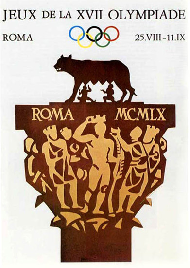 Olympic Games Rome Italy 1960 Romulus Remus | Vintage Ad and Cover Art 1891-1970