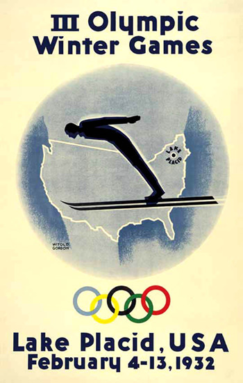 Olympic Winter Games Lake Placid USA 1932 | Vintage Ad and Cover Art 1891-1970