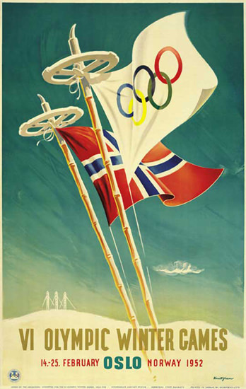 Olympic Winter Games Oslo Norway 1952 | Vintage Ad and Cover Art 1891-1970