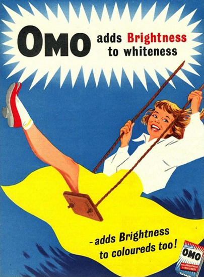 Omo Laundry Detergent Brightness To Whiteness | Vintage Ad and Cover Art 1891-1970