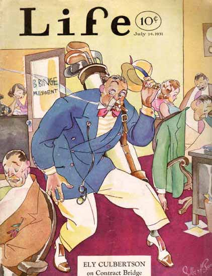 On Contact Bridge Life Humor Magazine 1931-07-24 Copyright | Life Magazine Graphic Art Covers 1891-1936