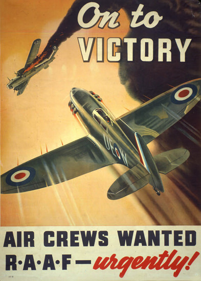 On To Victory Air Crews Wanted RAAF Urgently | Vintage War Propaganda Posters 1891-1970
