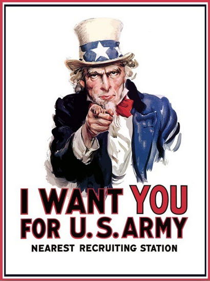 Oncle Sam I Want You For US Army Recruiting | Vintage War Propaganda Posters 1891-1970