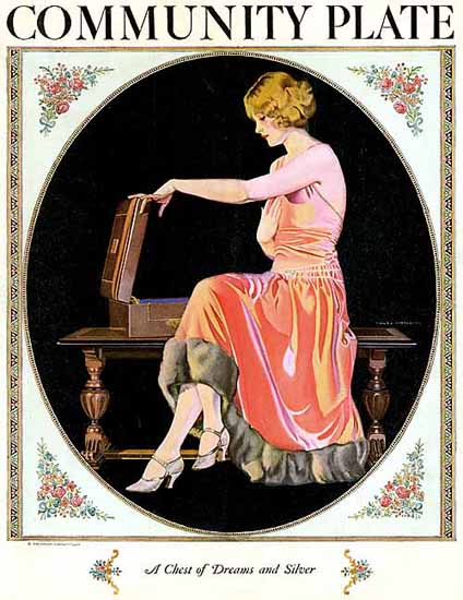 Oneida Community Plate Chest of Dreams 1924 Coles Phillips | Sex Appeal Vintage Ads and Covers 1891-1970