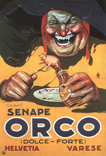 Orco Senape Helvetia Varese Italy Italia Mustard | Vintage Ad and Cover Art 1891-1970