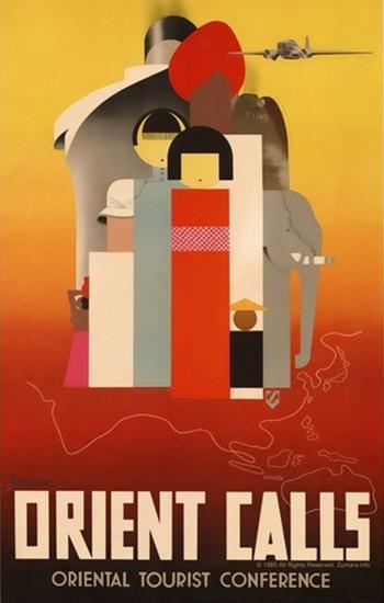 Orient Calls Oriental Tourist Conference | Vintage Travel Posters 1891-1970