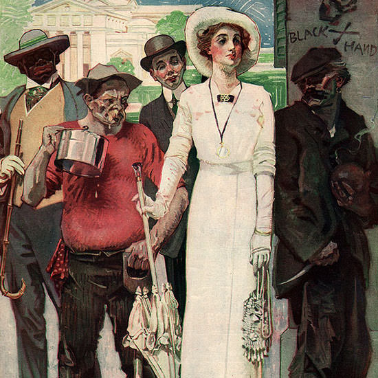 Orson Lowell Life Magazine Four Voters 1913-10-16 Copyright crop | Best of 1891-1919 Ad and Cover Art