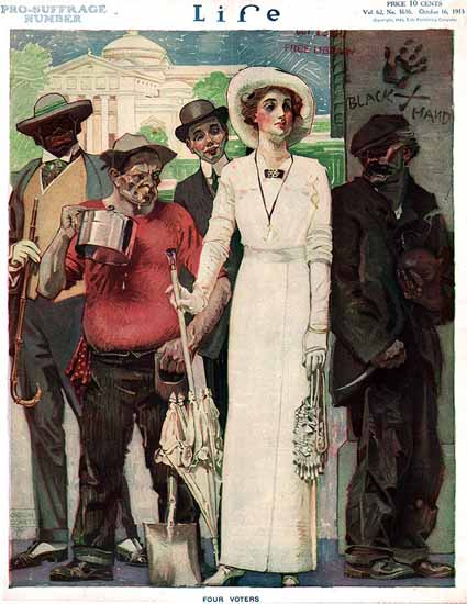 Orson Lowell Life Magazine Four Voters 1913-10-16 Copyright   Life Magazine Graphic Art Covers 1891-1936