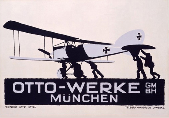 Otto Werke Muenchen Airplanes Ludwig Hohlwein   Vintage War Propaganda Posters 1891-1970