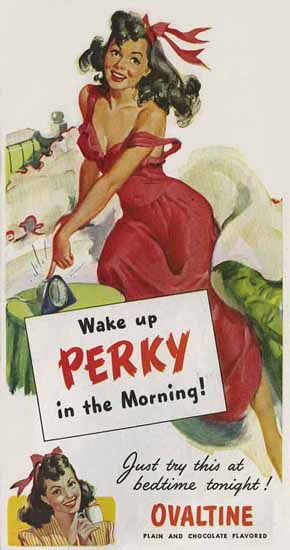 Ovaltine Ad Wake up Perky in the Morning Sex Appeal | Sex Appeal Vintage Ads and Covers 1891-1970
