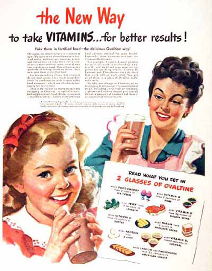 Ovaltine New Swiss Way To Take Vitamins 1946   Vintage Ad and Cover Art 1891-1970