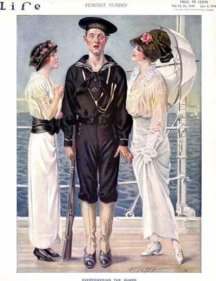 Overpowering Guard Life Humor Magazine 1914-06-04 Copyright | Life Magazine Graphic Art Covers 1891-1936