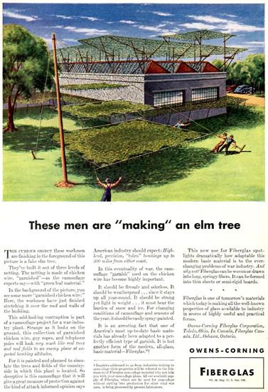 Owens-Corning Fiberglas Camouflage Net 1942 | Vintage War Propaganda Posters 1891-1970