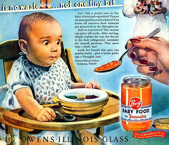 Owens Illinois Glass Baby Food In Dura Glass | Vintage Ad and Cover Art 1891-1970
