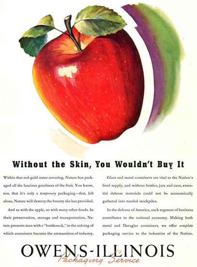 Owens-Illinois Packaging Service Apple 1942 | Vintage Ad and Cover Art 1891-1970