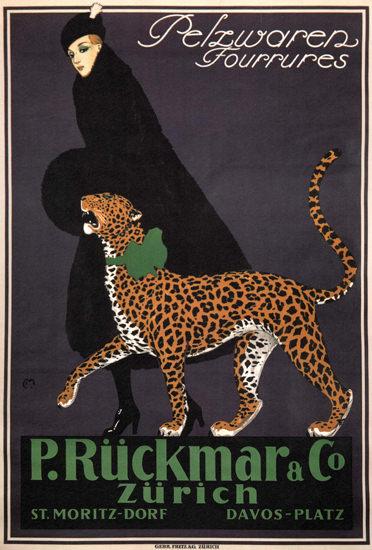 P Rueckmar Pelzwaren Zuerich St Moritz 1910 | Sex Appeal Vintage Ads and Covers 1891-1970