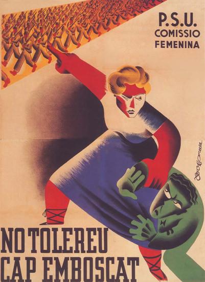 PSU Comissio Femenina Tolereu Emboscat 1937 | Vintage War Propaganda Posters 1891-1970