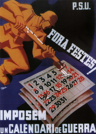 PSU Fora Festes Spain Espana   Vintage War Propaganda Posters 1891-1970