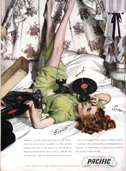 Pacific Girl Balanced Sheets Lush Exquis 1949 | Sex Appeal Vintage Ads and Covers 1891-1970