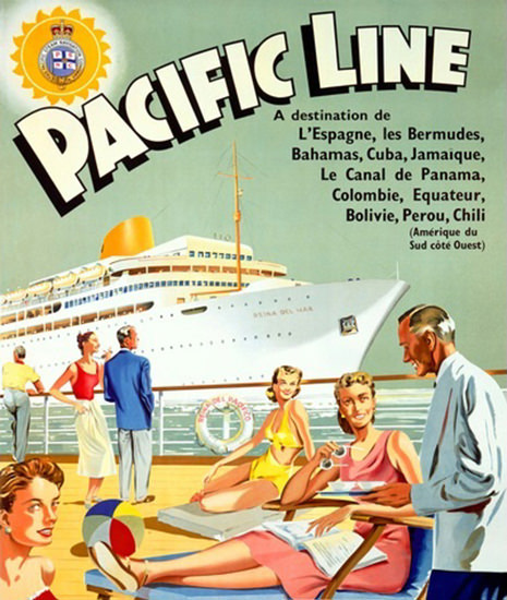 Pacific Line Carribean Cruise Bermudas Bahamas | Vintage Travel Posters 1891-1970