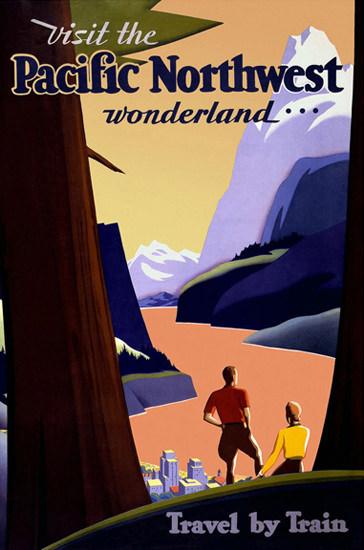 Pacific Northwest Wonderland Travel By Train | Vintage Travel Posters 1891-1970