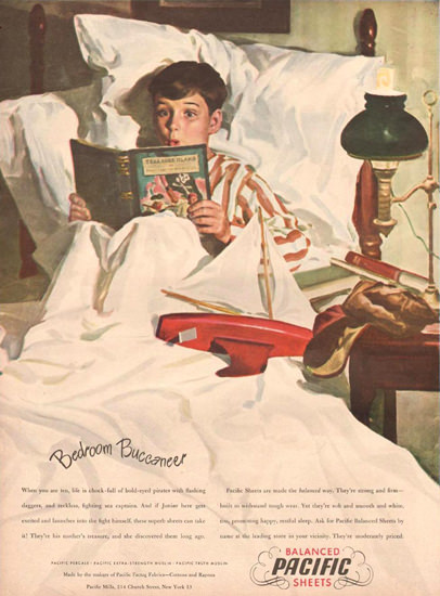 Pacific Sheets Bedroom Buccaneer 1946 | Vintage Ad and Cover Art 1891-1970